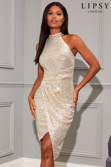 Lipsy Sequin Halter Asymmetrical Dress