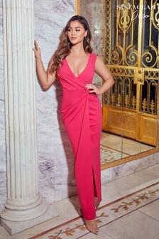 فستان ماكسي ملفوف من الأمام منSistaglam Loves Jessica