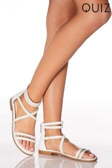 Quiz Diamanté Rope Detail Strappy Flat Sandal