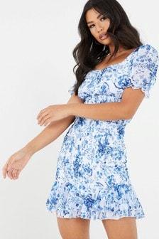 Quiz Floral Frill Dress