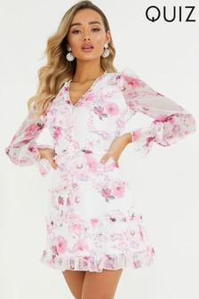 Quiz Floral Tiered Midi Dress