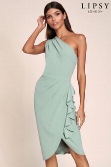 Lipsy midi-jurk met blote schouder en ruches