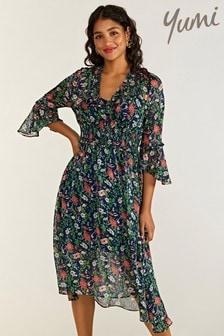 Yumi Garden Floral Midi Dress