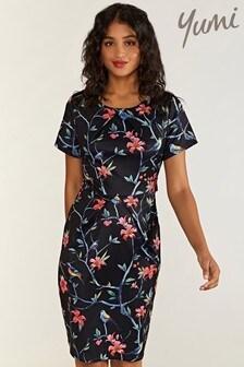 Yumi Floral Chain Short Sleeves Dress