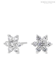 Simply Silver Sterling Silver 925 Cubic Zirconia Floral Stud Earring