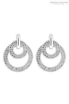 Simply Silver Sterling Silver 925 Cubic Zirconia Double Ring Drop Earring