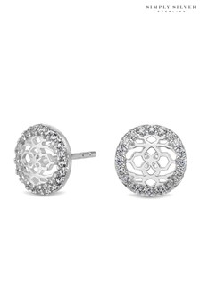 Simply Silver Sterling Silver 925 Cubic Zirconia  Round Filigree Stud Earring