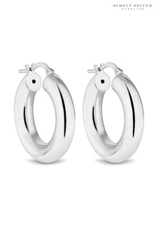 Simply Silver Sterling Silver 925 Polished Small Tube  Hoop Earrings