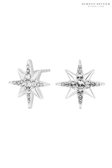 Simply Silver Sterling Silver 925  Swarovski  North Star Earings