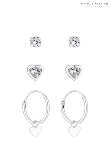 Simply Silver Sterling Silver 925 Heart Drop - Pack of 3