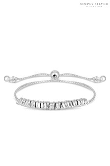 Simply Silver Sterling Silver 925 Multi Bead Toggle Bracelet