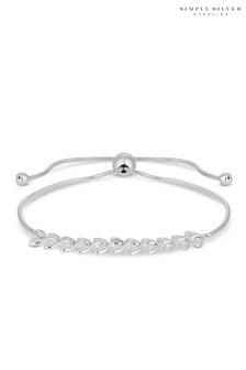 Simply Silver Sterling Silver 925 Polished Vine Toggle Bracelet