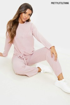 PrettyLittleThing Brushed Rib Tie Front Loungewear Set