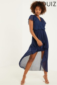 Quiz Wrap Front Polka Dot Midi Dress