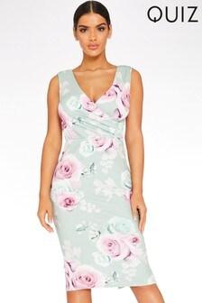 Quiz Floral Sleeveless Wrap Top Midi Dress