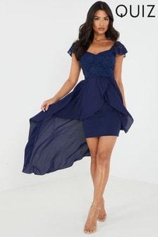 Quiz Glitter Lace Floaty Midi Dress