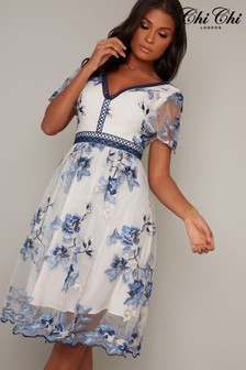 Chi Chi London Floral Embroidered Midi Dress