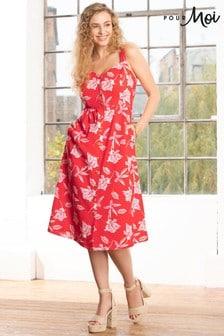Pour Moi Linen Blend Button Front Sun Dress