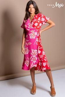 Pour Moi Frill Detail Woven Midi Wrap Dress
