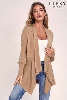 Lipsy Knitted Blouson Sleeve Waterfall Cardigan