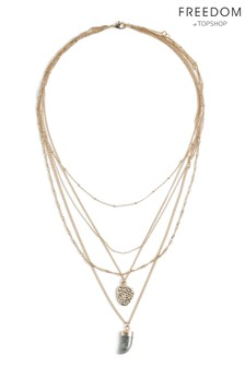 Freedom Horn And Coin Multirow Necklace