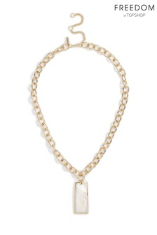 Freedom Rectangle Pearl Charm Necklace