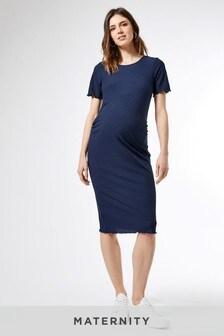 فستان متوسط الطول ضيق مضلع بكم قصير وحافة كشكشة للحوامل منDorothy Perkins
