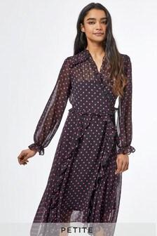 Dorothy Perkins Petite Spot Chiffon Midaxi Dress