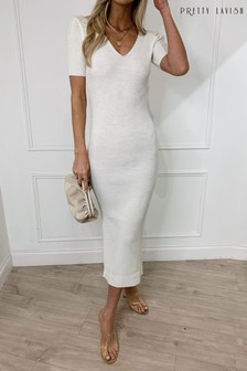 Pretty Lavish Ribbed Knitted Midi Dress