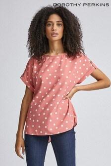 Dorothy Perkins Workwear-T-Shirt mit Knöpfen an den Ärmeln