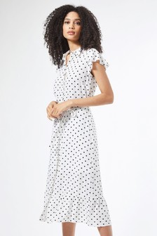 Dorothy Perkins Gepunktetes Hemdblusenkleid mit Rüschen und Schößchensaum
