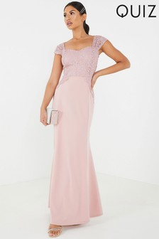 Quiz Lace Cap Sleeve Scalloped Edge Maxi Dress