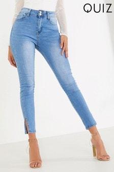 Quiz High Waist Split Hem Skinny Jeans