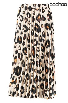 Boohoo Leopard Pleated Midi Skirt