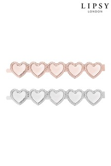 Lipsy Two Tone Polished Heart 2 Pack Slides