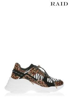 Кроссовки на массивной подошве с леопардовой отделкой Raid