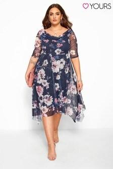 Yours Curve Floral Cowl Mesh Dress