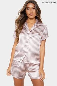 PrettyLittleThing Stripe Satin Short Pyjama Set
