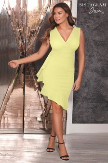 Sistaglam Loves Jessica Wrap Neck Peplum Hem Midi Dress