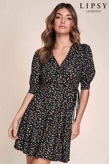 שמלת מיני של Lipsy בגזרת מעטפת עם שרוולים נפוחים