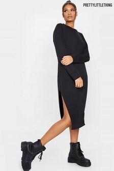 PrettyLittleThing Oversized Side Split Midi Sweater Dress