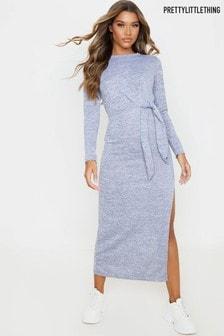 PrettyLittleThing Tie Waist Knitted Midaxi Dress