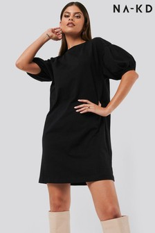 NA-KD Puff Sleeve T-Shirt Dress