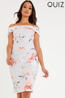 Quiz Floral Bardot Bodycon Dress