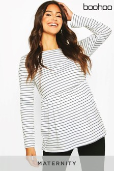 Boohoo Maternity Long Sleeved Stripe Smock Top