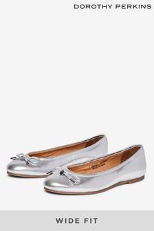 Dorothy Perkins Wide Fit Silver Paige Pumps
