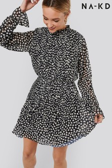 NA-KD Pleated Polka Dot Mini Dress