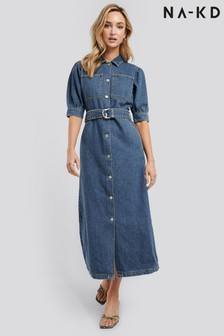 NA-KD Puff Sleeve Belted Denim Dress