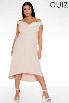 Quiz Curve Bardot Dip Hem Dress With Floral Trim