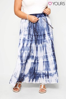Dorothy Perkins Curve Tie Dye Crinkle Cotton Maxi Skirt